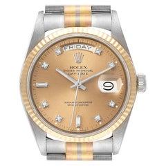 Rolex President Day-Date Tridor White Yellow Rose Gold Diamond Watch 18039