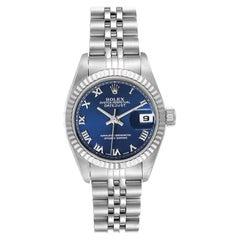 Rolex Datejust Steel White Gold Blue Roman Dial Ladies Watch 69174