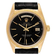 Rolex President Day-Date Yellow Gold Black Dial Mens Watch 1807