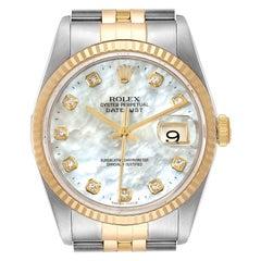 Rolex Datejust Steel Yellow Gold MOP Diamond Mens Watch 16233