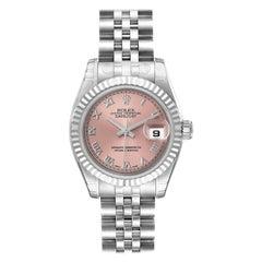 Rolex Datejust Steel White Gold Salmon Dial Ladies Watch 179174 Unworn