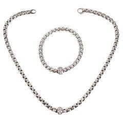 18ct White Gold Fope Necklace & Bracelet Set