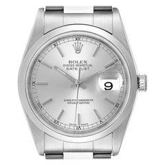 Rolex Datejust 36 Silver Baton Dial Steel Mens Watch 16200