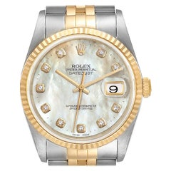 Rolex Datejust Steel Yellow Gold MOP Diamond Mens Watch 16233 Box Papers