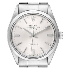 Rolex Air King Vintage Stainless Steel Silver Dial Mens Watch 5500 Papers