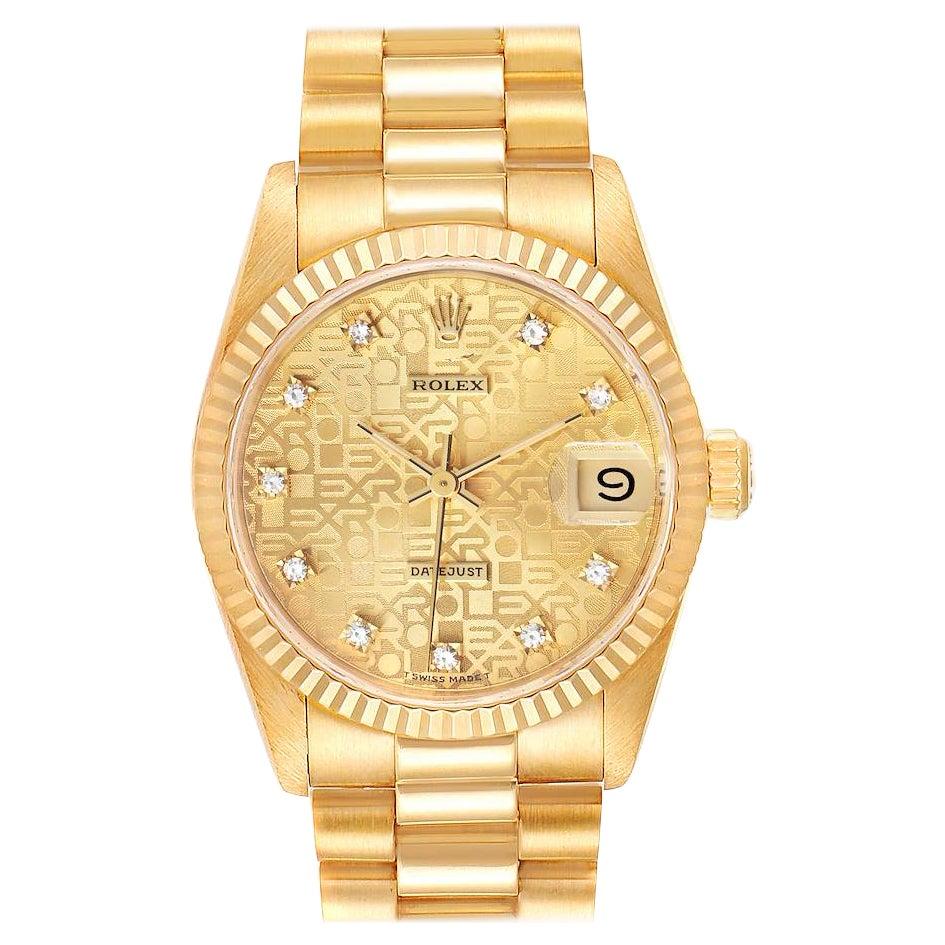 Rolex President Datejust 31 Midsize 18K Gold Diamond Ladies Watch 68278