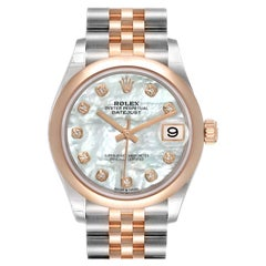 Rolex Datejust 31 Midsize Steel Rose Gold MOP Diamond Watch 278241 Unworn
