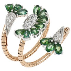 18kt White and Rose Gold Flex Ring with Flowers with Green Topazes and Diamonds