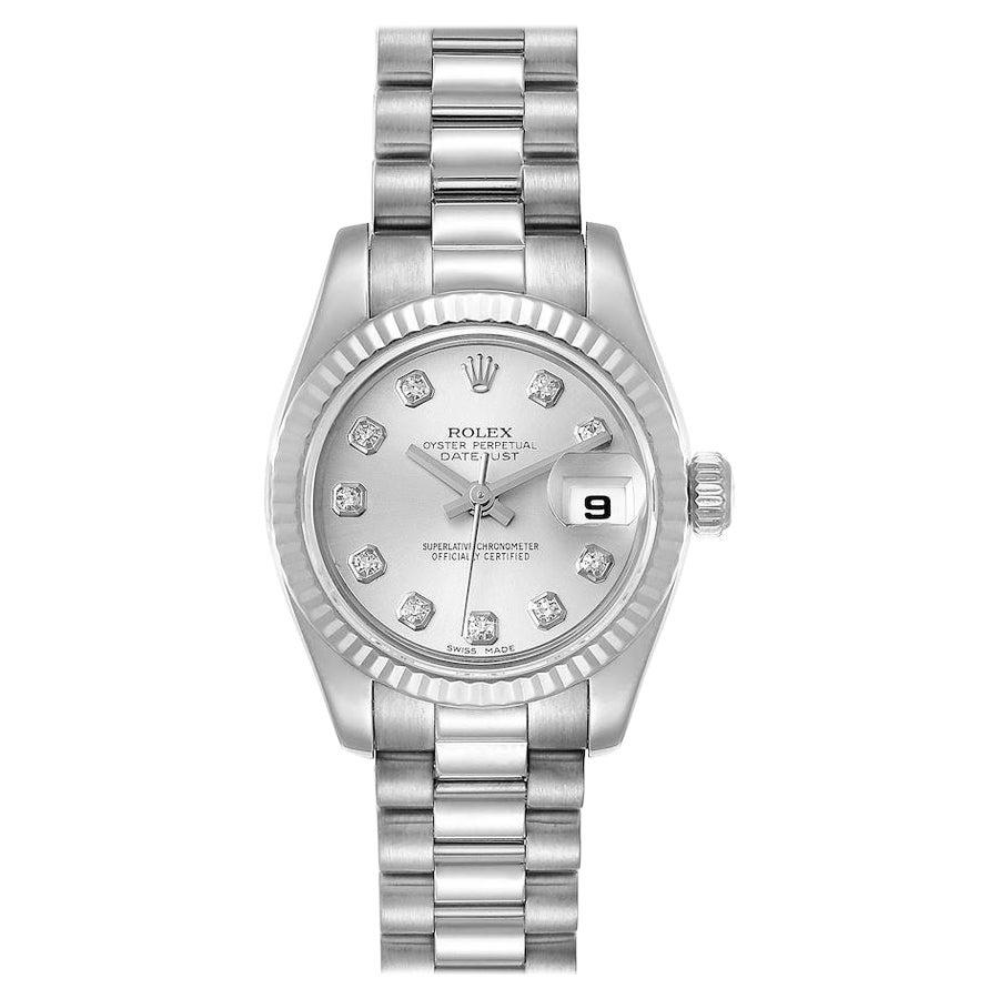 Rolex President Ladies White Gold Diamond Ladies Watch 179179
