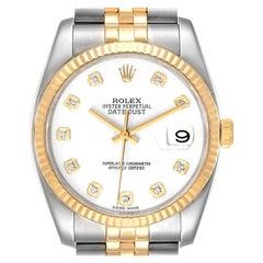 Rolex Datejust Steel Yellow Gold White Diamond Dial Mens Watch 116233