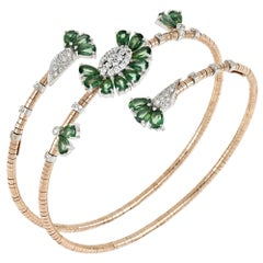 18kt Rose and White Gold Flex Bracelet Flowers with Green Topazes and Diamonds