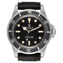 Rolex Submariner Black Dial Vintage Stainless Steel Mens Watch 5513