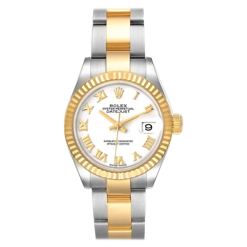 Rolex Datejust 28 Steel Yellow Gold White Dial Ladies Watch 279173 Unworn