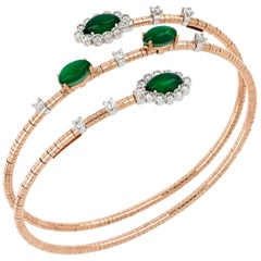 18kt Rose and White Flex Bracelet Green Eyes with Aventurine And Diamonds