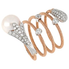 18kt Rose and White Gold Flex Ring with Pearl and Diamonds