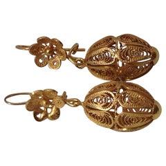 18ct Gold Filigree Vintage European Earrings