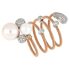 18kt Rose and White Gold Flex Ring with Two Pearls and Diamonds