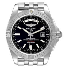 Breitling Galactic 44 Day-Date Steel Black Dial Watch A45320 Box Papers