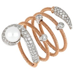 18kt Rose and White Gold Flex Big Ring with Pearl and Diamonds