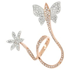 18kt Rose and Yellow Gold 3 Chic Butterfly & Flower Big Ring