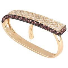 18kt Rose Gold 3Chic Double Finger Big Ring with Diamonds and Topazes