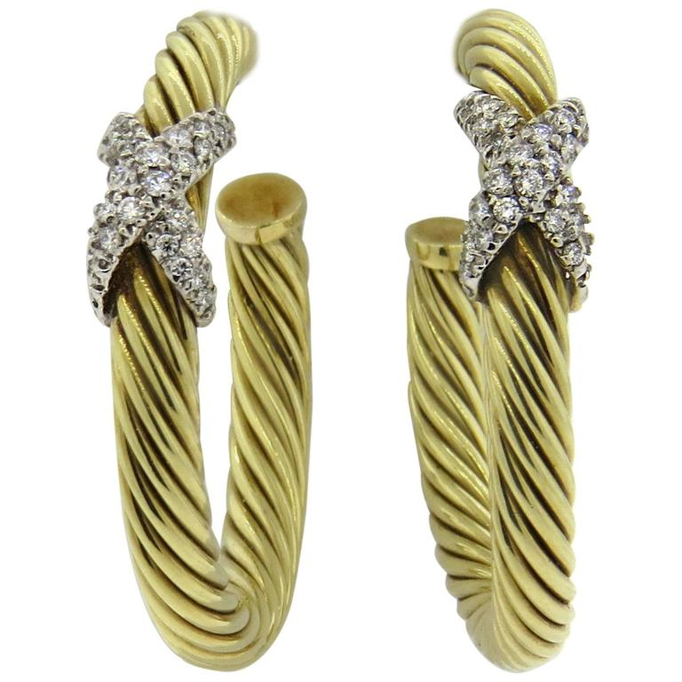 43f892b729e8d David Yurman Large Diamond Gold Cable Hoop Earrings For Sale at 1stdibs