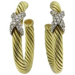 David Yurman Large Diamond Gold Cable Hoop Earrings