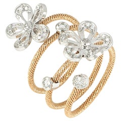 18kt Rose and White Gold Flex Flowers Ring with Diamonds