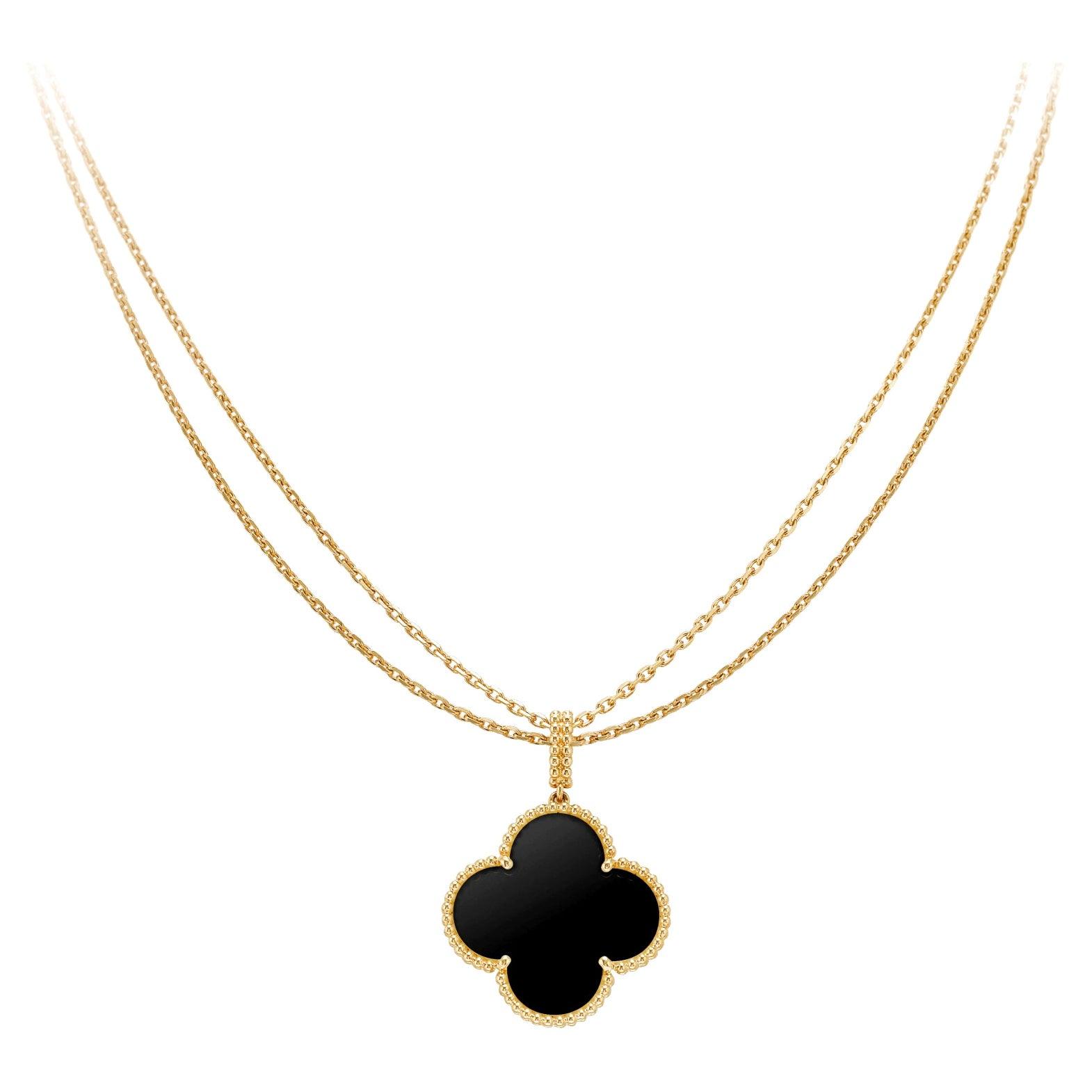 "Van Cleef & Arpels ""Magic Alhambra"" Long Necklace One Motif Onyx Pendant"