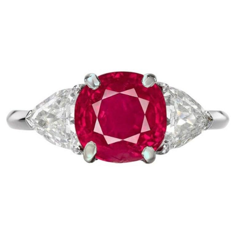 Grs 4.98 Carat Cushion Burma Myanmar No Heat Ruby Diamond Ring For Sale