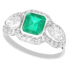 Antique 1.45Ct Emerald and 1.43Ct Diamond Platinum Cocktail Ring