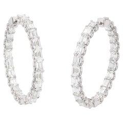 Emerald Cut Diamond Hoops