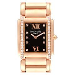 Patek Philippe Twenty-4 Rose Gold Black Dial Diamond Ladies Watch 4910