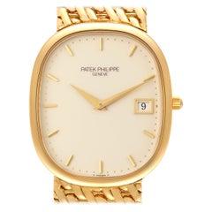 Patek Philippe Golden Ellipse Yellow Gold Ivory Dial Mens Watch 3747