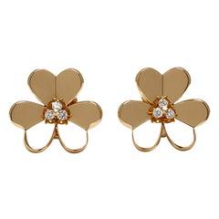 Van Cleef & Arpels 'Frivole' Yellow Gold Diamond Earrings, Large Model