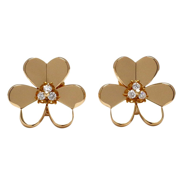 Van Cleef & Arpels 'Frivole' Yellow Gold Diamond Earrings, Large Model For Sale