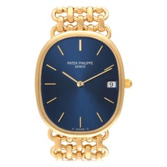 Patek Philippe Golden Ellipse Yellow Gold Blue Dial Ladies Watch 3788