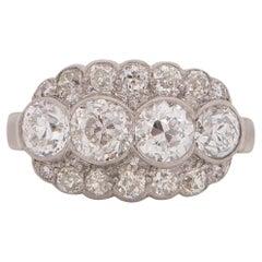 1.40 Carat Total Weight Art Deco Diamond Platinum Engagement Ring