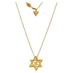 Yellow Diamond Necklace 1.28 Carats Gold Merkaba Star