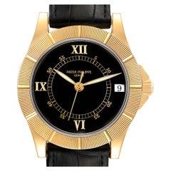 Patek Philippe Neptune Black Dial 18k Yellow Gold Mens Watch 5081