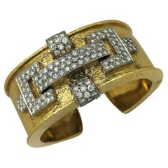 Luxurious Mid-20th Century Hammered Gold and Diamond Cuff Bracelet