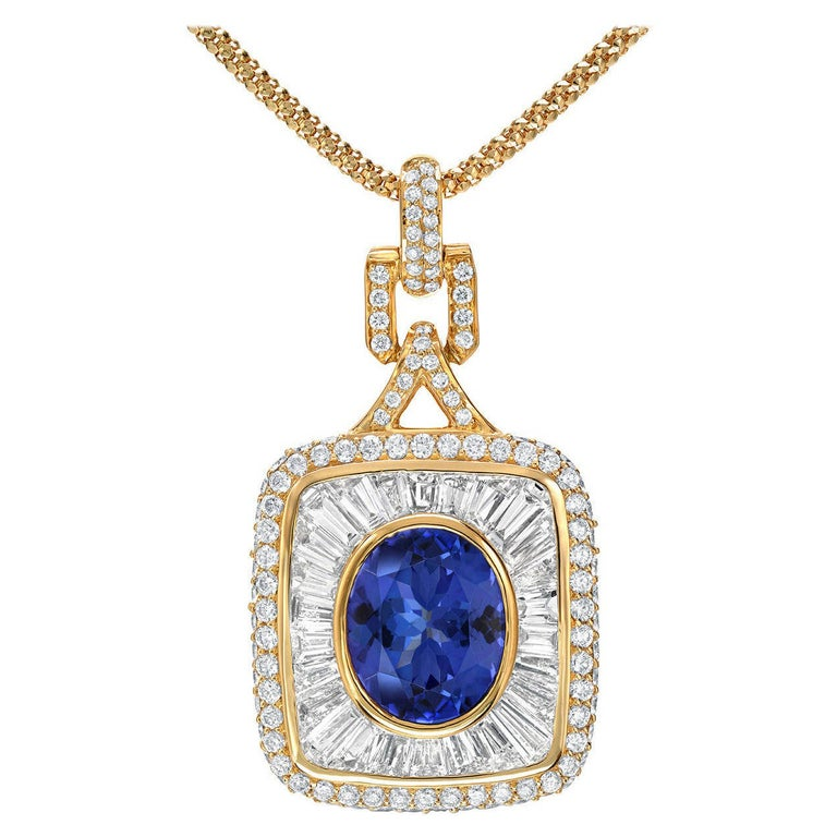 Tanzanite Diamond Pendant Necklace For Sale