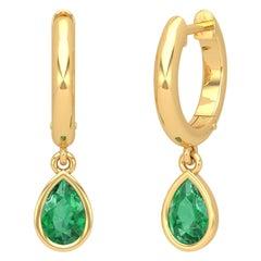 Pear Emerald 14 Karat Gold Huggie Hoop Earrings