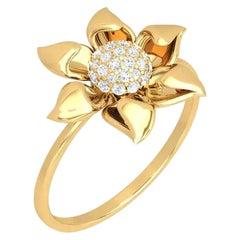Flower Diamond 14 Karat Gold Diamond Ring