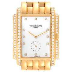 Patek Philippe Gondolo 18k Yellow Gold White Dial Diamond Mens Watch 5025