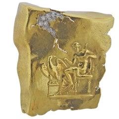 Seidengang Athena Diamond Gold Platinum Brooch Pin