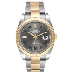 Rolex Datejust Two Tone Wimbledon Dial Oyster Fluted Men's Watch 126333