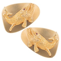 Tiffany & Co. Large Ruby Gold Fish Cuff Links