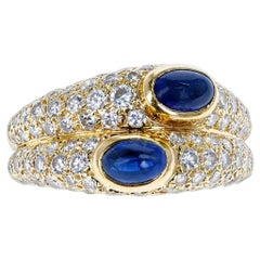 Cartier Paris Double Sapphire Cabochon and Diamond Ring, 18K Yellow Gold