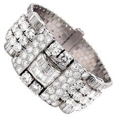 Retro French 25 Carat Diamond Platinum Bracelet